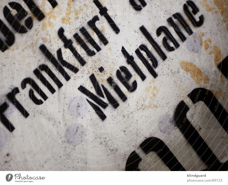 Dirty Protection Digits and numbers Letters (alphabet) Hide Frankfurt Main Rent Covers (Construction) Inscription Cover up Aimless Tarpaulin Available for purchase