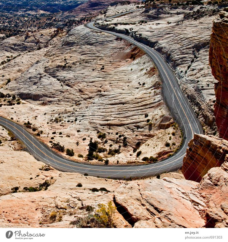 Vacation & Travel City Loneliness Landscape Far-off places Street Lanes & trails Freedom Exceptional Brown Rock Climate Adventure USA Desert Wanderlust