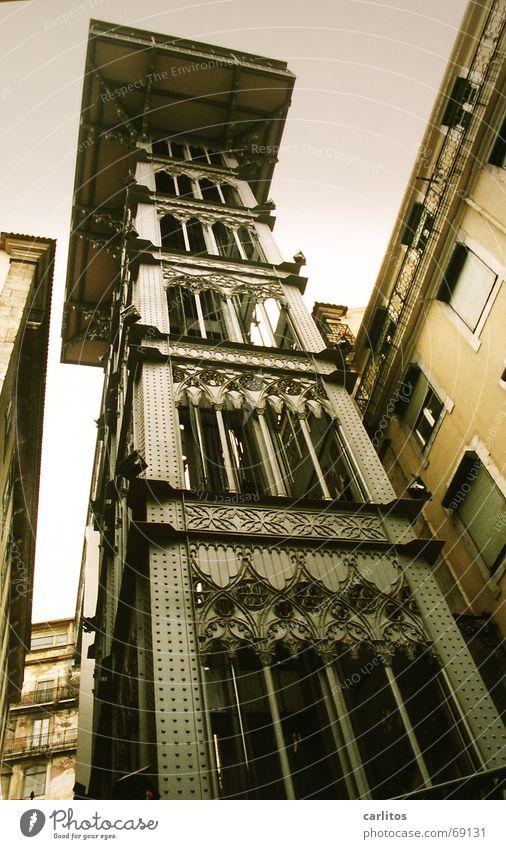 Crazy Upward Elevator Downward Portugal Lisbon Old town Santa Justa Lift
