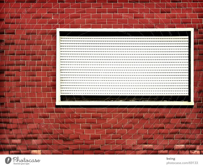 Window to the street Roller blind Venetian blinds Window board Facade Closed Butcher Acid rain Furrow Seam Old building Redevelop Loneliness Rent Screening