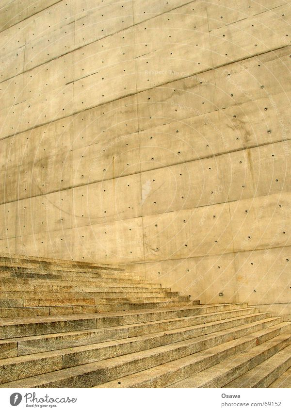Concrete Wall Stairs Construction Wall (building) Cold Hard Simple Gloomy Architecture Structures and shapes Geometry Exterior shot Day Abstract Facade Detail