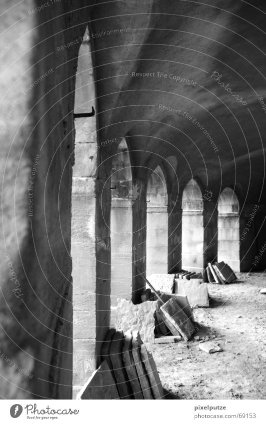 from old to new Eaves Construction site Light Stone slab Ludwigsburg Restoration Black White Gray scale value Archway Shadow monrepos Castle sea castle Old