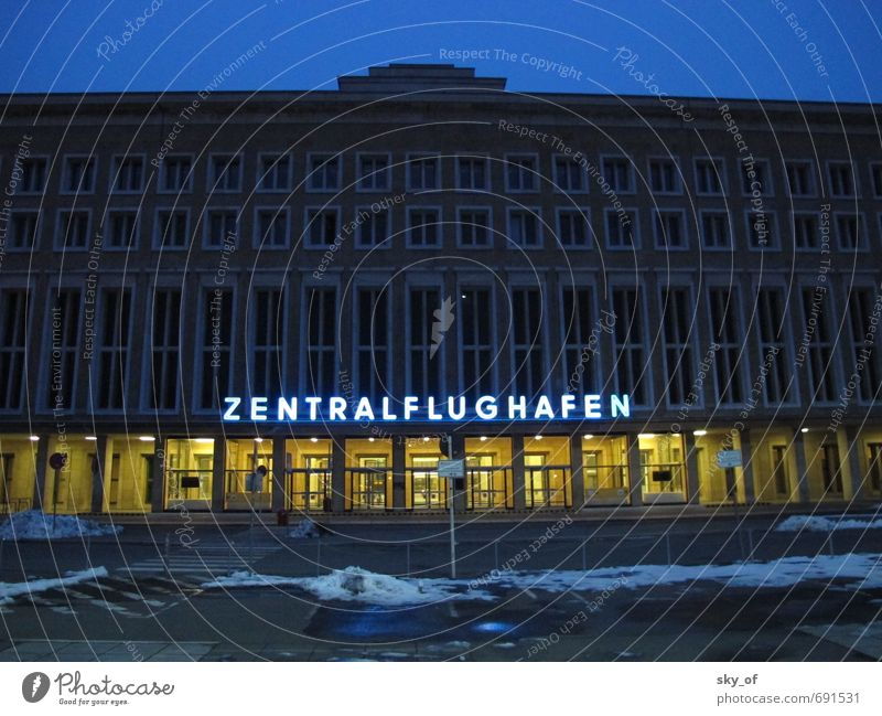 central airport Town Deserted Airport Airport Berlin-Tempelhof Flying Vacation & Travel Firm Historic Cold Retro Blue Responsibility Fatigue Wanderlust Winter