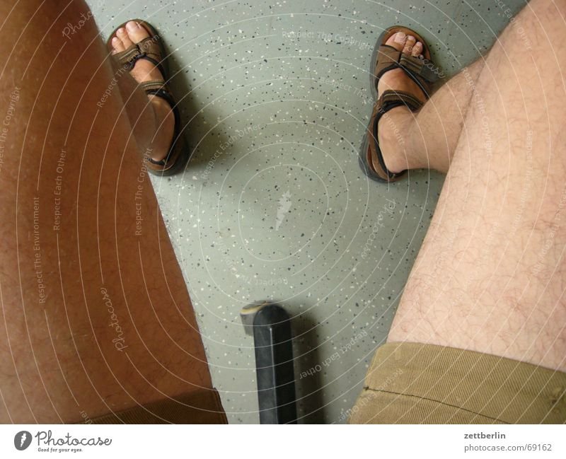 View down Toes Sandal Calf Knee Lower leg Thigh Pants Exhibitionism Feet Naked flesh Shorts Bird's-eye view Section of image Partially visible Detail Funny Joke