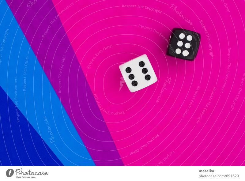 cubes on blue and pink graphic background Lifestyle Happy Leisure and hobbies Playing Success Select Lose Pink Blue Cube Dice Lucky number Good luck Desire