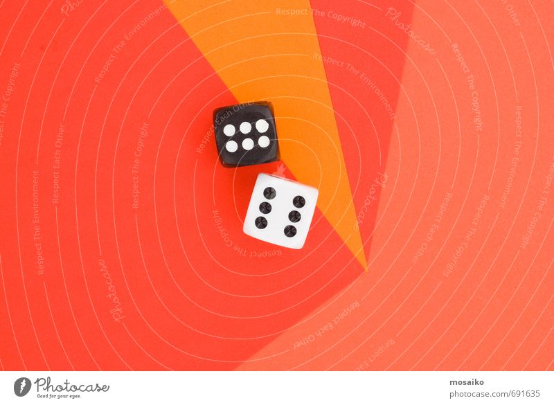 cubes on orange graphic background Lifestyle Style Design Happy Playing Entertainment Success Lucky number Dice 6 Numbers Graphic Abstract Orange Red Geometry