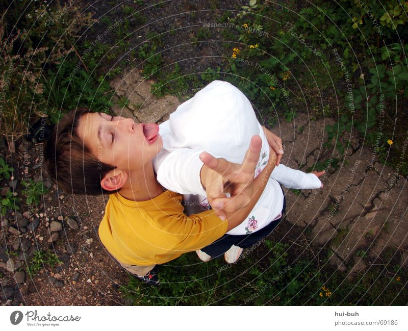 Child Girl White Eyes Boy (child) Playing Above Grass 2 Family & Relations Funny Fingers Tall Peace Sign To hold on