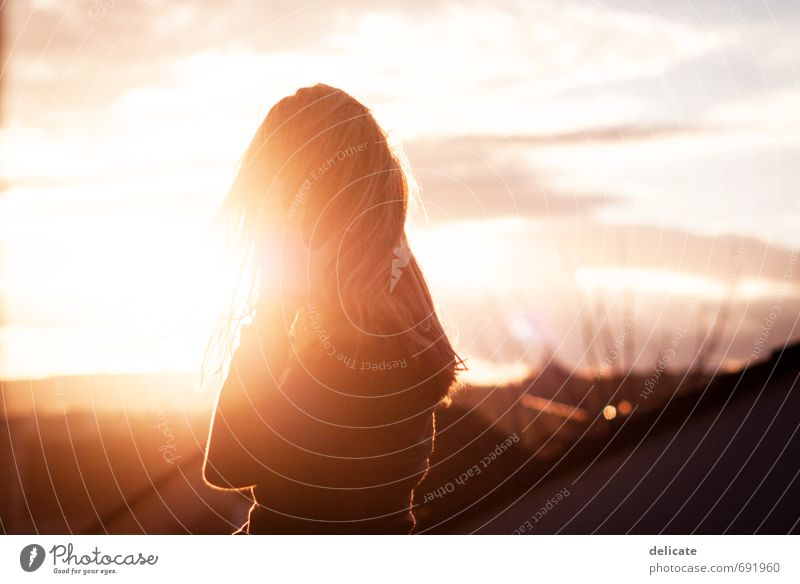 evening sun Feminine Young woman Youth (Young adults) Head Hair and hairstyles Hand 1 Human being 18 - 30 years Adults Sky Clouds Sun Building Roof Blonde