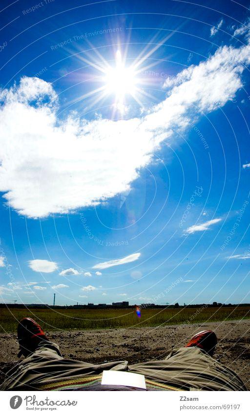 Sky Sun Blue Red Far-off places Street Relaxation Feet Lanes & trails Footwear Field Large Lie Rest Belt buckle