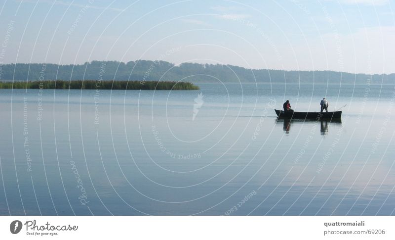 Nature Calm Lake Romance Fishing (Angle) Fisherman Angler Rowboat Watercraft Closing time Interior lake Schaalsee Lake