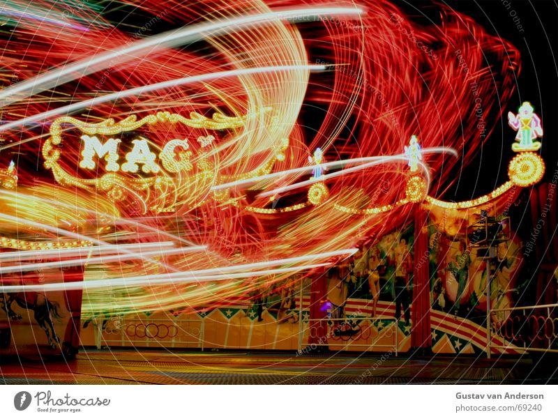 magic Fairs & Carnivals Multicoloured Night Long exposure Leipzig Round Light carousel Movement Vertigo Joy Music