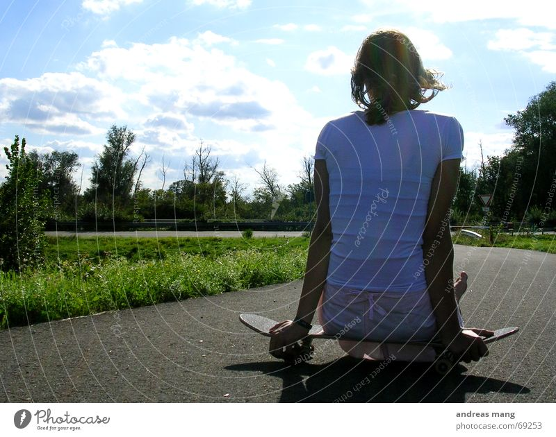 Woman Sky Blue Green Tree Clouds Relaxation Street Lanes & trails Wait Sit Asphalt Footpath Highway Skateboarding Coil