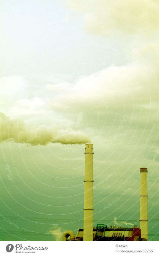 power plant Green Smog Clouds Electricity generating station Chimney Smoke Steam Sky