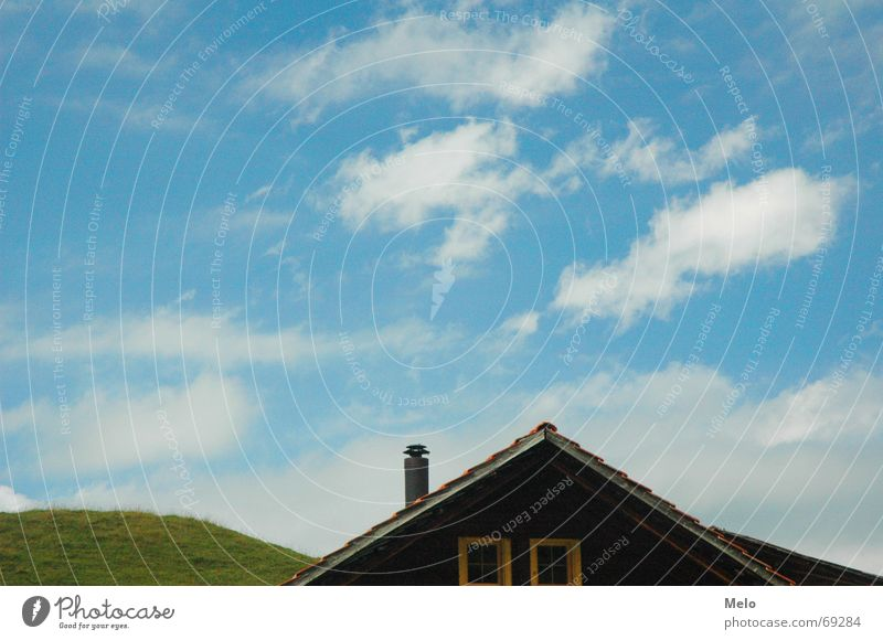 Elsigenalp House (Residential Structure) Hill Green Roof Sky Blue Chimney Detail Lawn Meadow Cloud formation Attic story Gable 1 2 Deserted Copy Space top Point