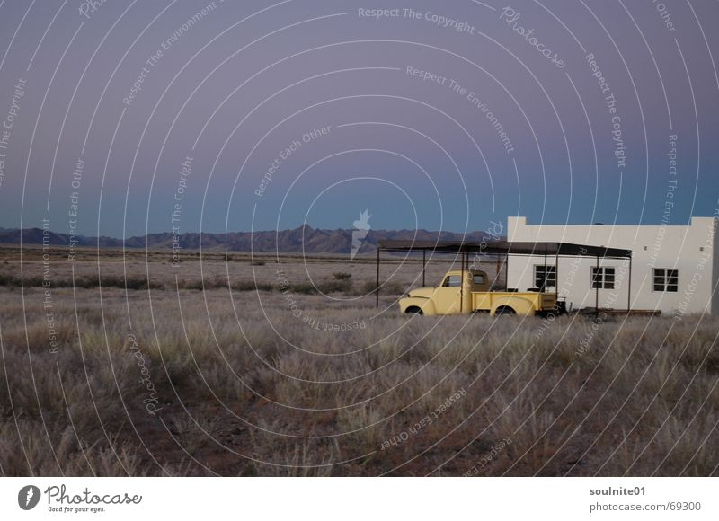dreamland Namibia Africa Moody Vintage car Loneliness Calm Timeless Far-off places tan desert Car Desert Evening Freedom