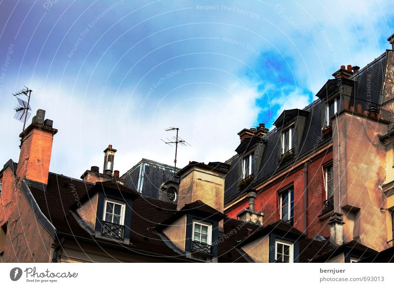 rooftops Town Capital city Downtown House (Residential Structure) Building Architecture Window Roof Eaves Chimney Antenna Exceptional Crazy Blue Multicoloured