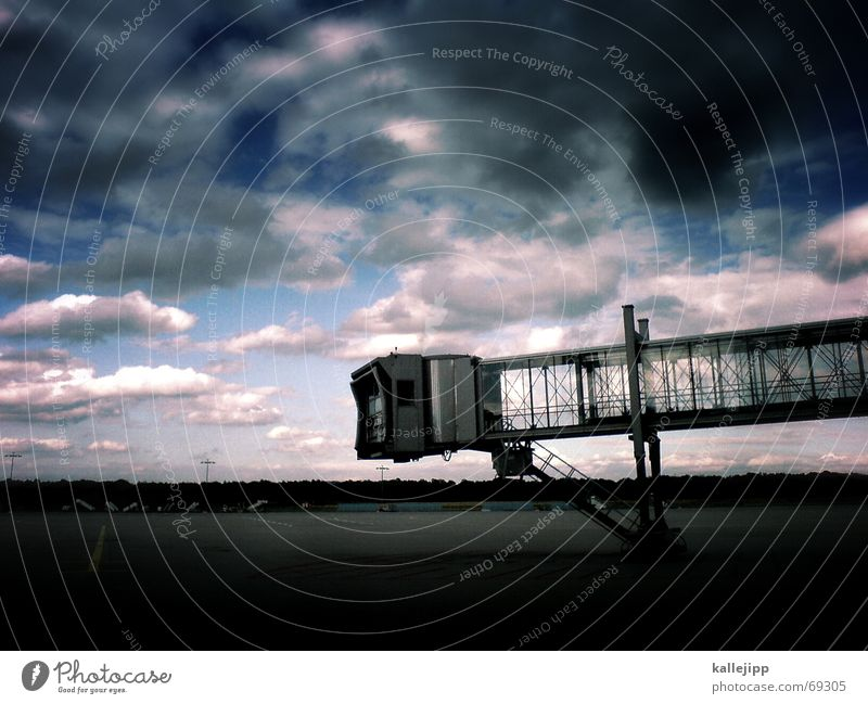 Sky Work and employment Landscape Wait Airplane Concrete Fingers Stairs Airport Steel Departure Passenger Runway Arrival Airfield