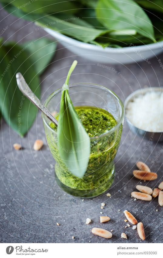 wild garlic pesto Club moss Italien pesto Forest fruit Garlic Herbs and spices Sense of taste Sauce Dip Pine nut Dish Eating Food photograph Cooking oil Kitchen