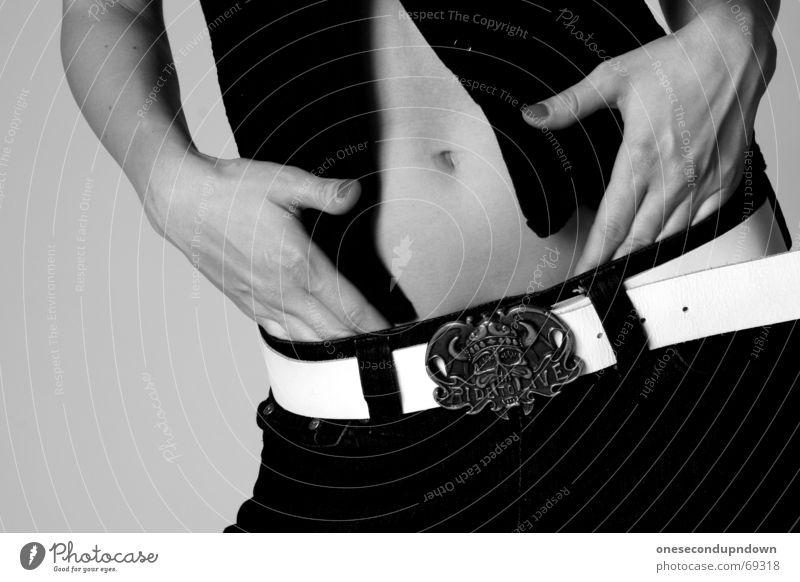 Hand Red Pants Lady Stomach Fingernail Varnish Navel Belt Rock'n'Roll Nail polish Strait Madame Belt buckle