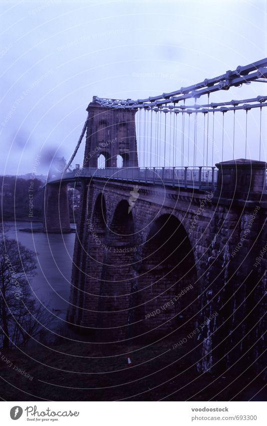 menai bridge with rain spots Clouds Rain River bank Bridge Stone Metal Dark Wet menai strait Suspension arch hanger dropper Curve stormy Rainy sky Wales