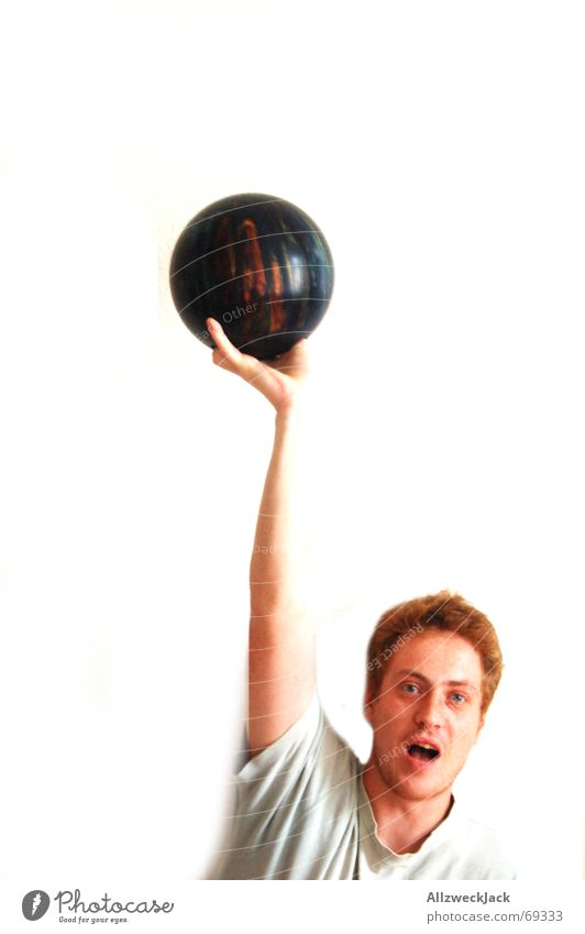 Man Joy Success Applause Freckles Red-haired Bowling Bowling ball Bright background