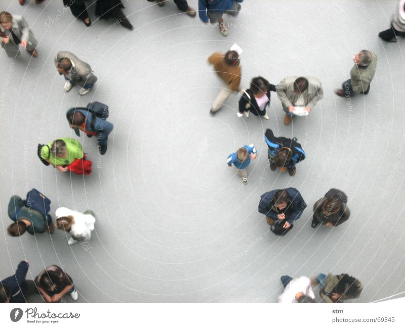 people 03 To talk Human being Friendship Group Shirt Observe Going Walking Stand Wait Together Above Gray Boredom Outline Formation Against each other Sociology