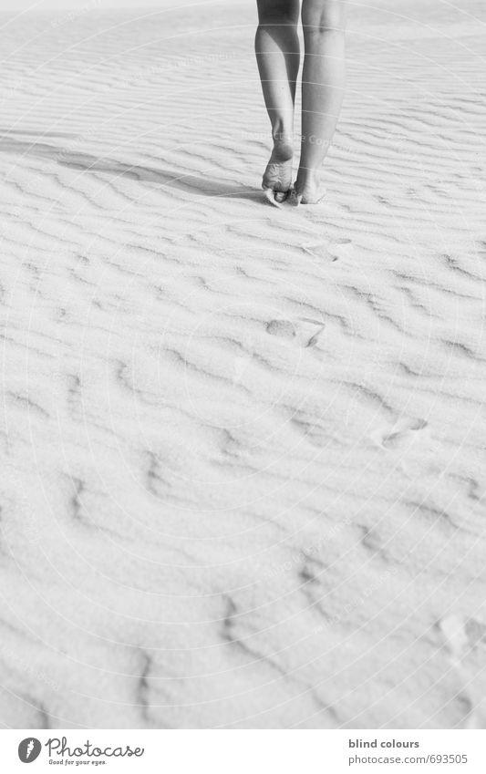 one avant Art Esthetic Contentment Forwards Black & white photo Legs Woman's leg Barefoot Decent Walking Tracks Desert Feet Calm Movement Loneliness Free space