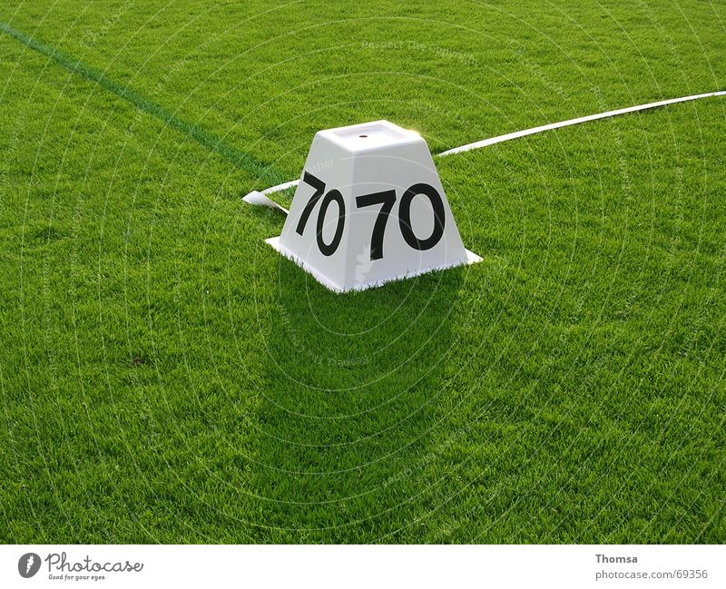 70m marking on the lawn Green Track and Field 70 meters Signs and labeling Lawn javelin Sports summer sports