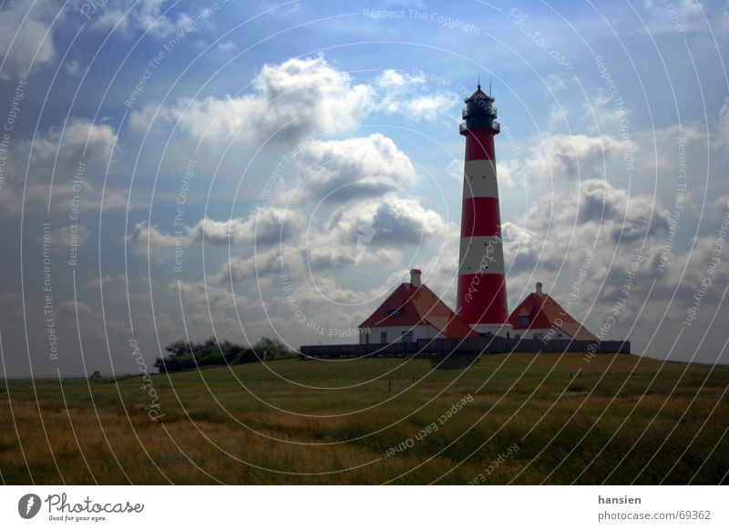 Westerhever Lighthouse Eyderstedt North Frisland Meadow Clouds Back-light war sign pitched warden houses Sky