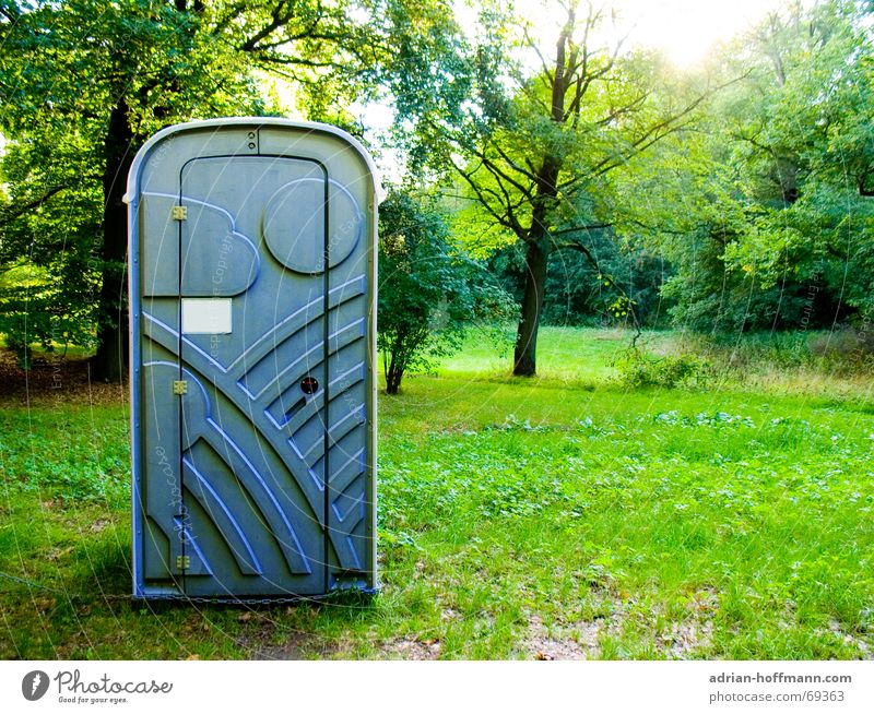 Nature Tree Sun Green Blue Calm Forest Meadow Grass Lawn Village Toilet Feces Statue Plastic Odor