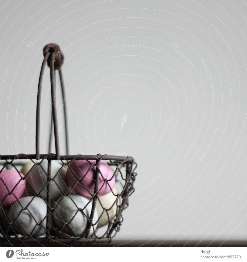 ei ei ...scraper basket Food Candy Egg Nutrition Decoration Basket Wire basket Metal Esthetic Exceptional Simple Beautiful Uniqueness Delicious Brown Gray Pink