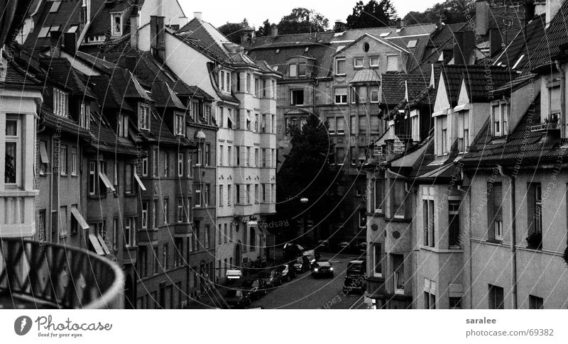 Stuttgart House (Residential Structure) Symmetry Geometry Window Vantage point Moody Old Row Black & white photo B/W Street Review Architecture