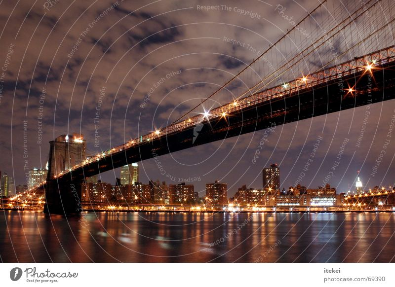 Brooklyn Bridge, NYC Quarter New York City Transport East River Long exposure Night Dark Town Reflection Bad weather USA Americas Exterior shot borough Light