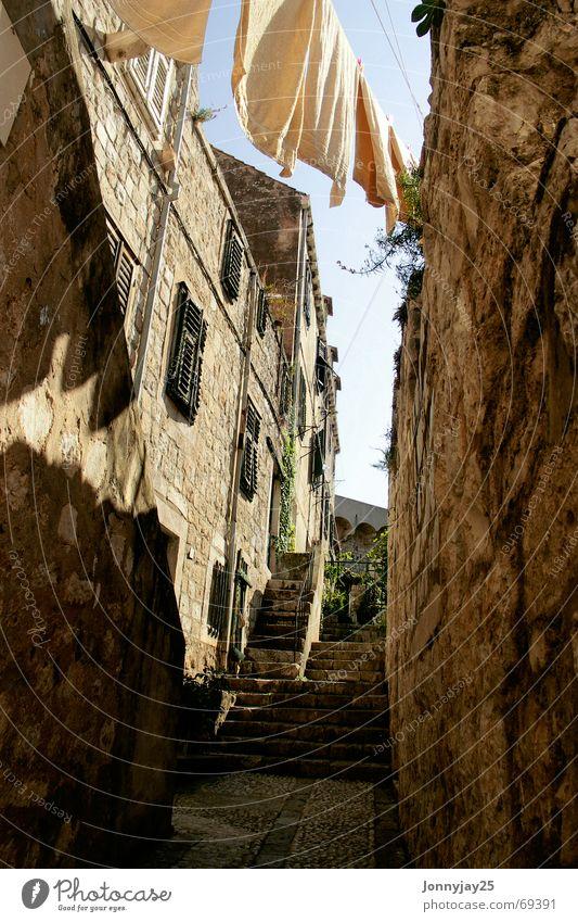 Old Summer Warmth Stairs Physics Upward Laundry Dry Towel Croatia Stone wall Dubrovnik