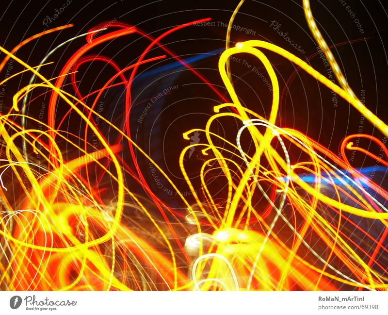 Play of light Visual spectacle Night shot Red Yellow Disco snakes of light Light (Natural Phenomenon) Blue Orange stroked Lighting