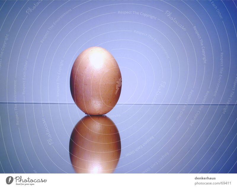 Blue White Glass Mirror Breakfast Egg Bowl Barn fowl Beige Illusion Fried egg sunny-side up