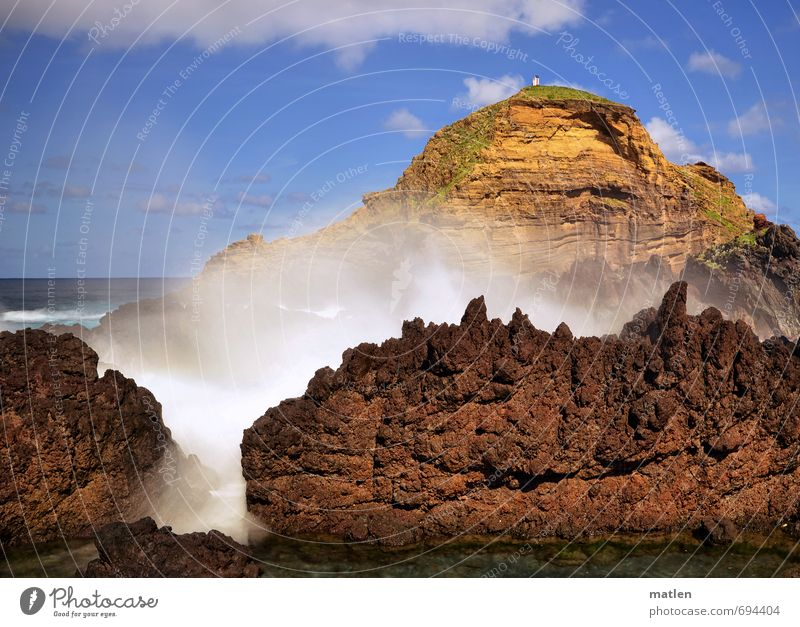 action Nature Landscape Water Sky Clouds Horizon Sun Spring Weather Beautiful weather Wind Rock Mountain Waves Coast Fjord Ocean Blue Brown Yellow Climate