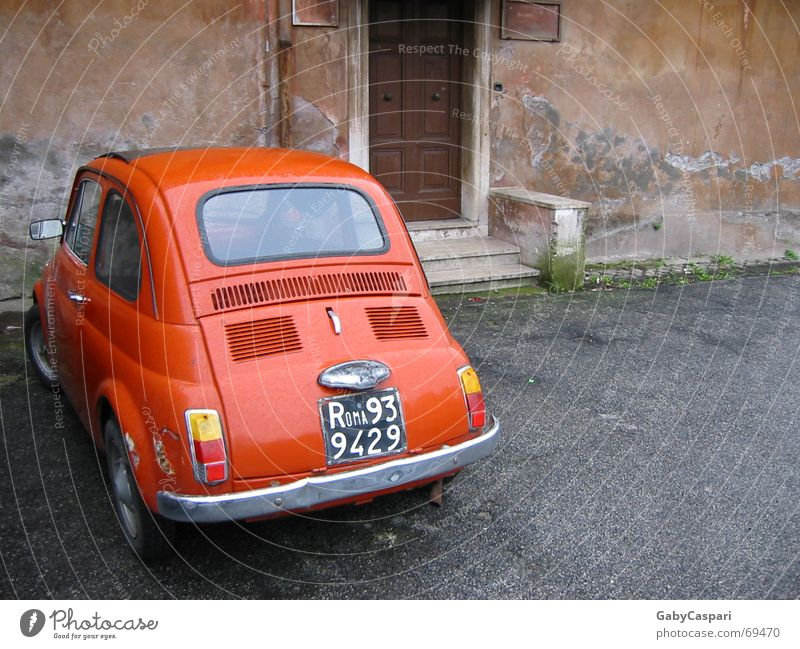 Roma 93 Italy Red Entrance Iconic Emotions Exterior shot Car fiat 500 cinquecento Morbid old house Old