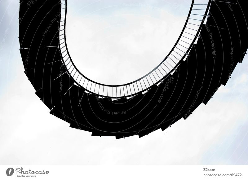 Sky Black Line Stairs Round Ascending Ladder Handrail Arch Disk Meandering