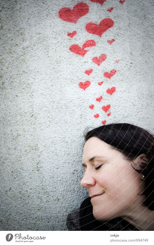 Human being Woman Red Joy Face Adults Wall (building) Graffiti Life Emotions Love Wall (barrier) Happy Moody Dream Facade
