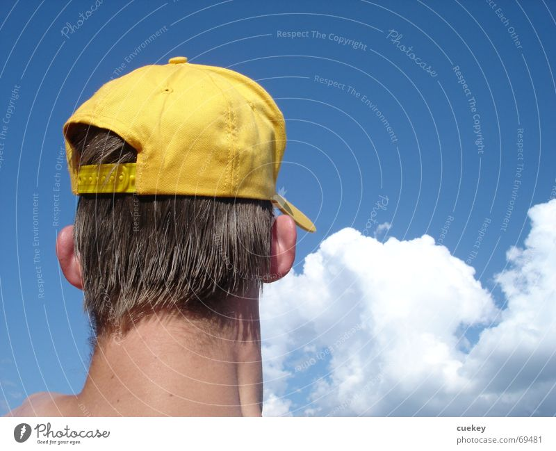180 degrees Cap Clouds Yellow Looking away Summer Vacation & Travel Backwards Head Ear Blue Blue-white Neck Hat Contrast