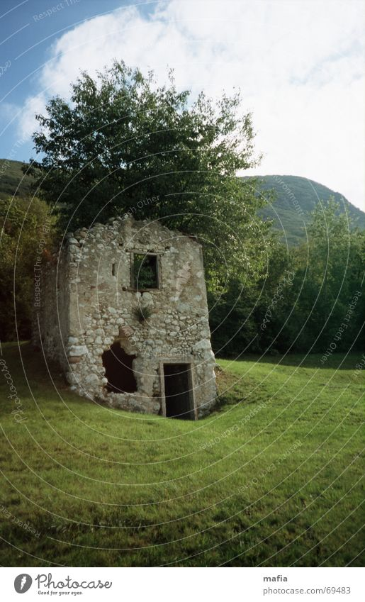 tree house House (Residential Structure) Tree Meadow Ruin Landscape Mountain Old