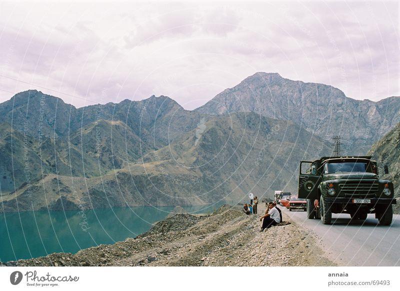 Water Joy Street To talk Mountain Lake Wait Truck Picnic Exterior shot Emotions