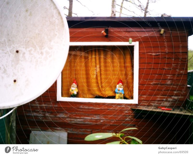 idyllic Garden gnome Petit bourgeois Camping Window White Wood Camping site Exterior shot Funny Old with curtain Hut color peels off weekend house Sat bowl