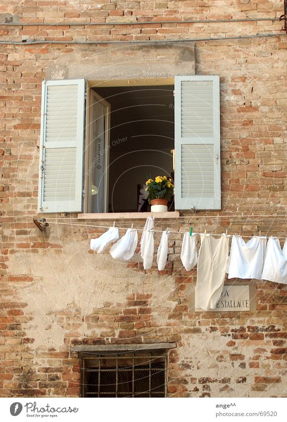 Beautiful Italy Window Laundry Clothesline Flower House (Residential Structure) Town Cozy City life open window old house old masonry