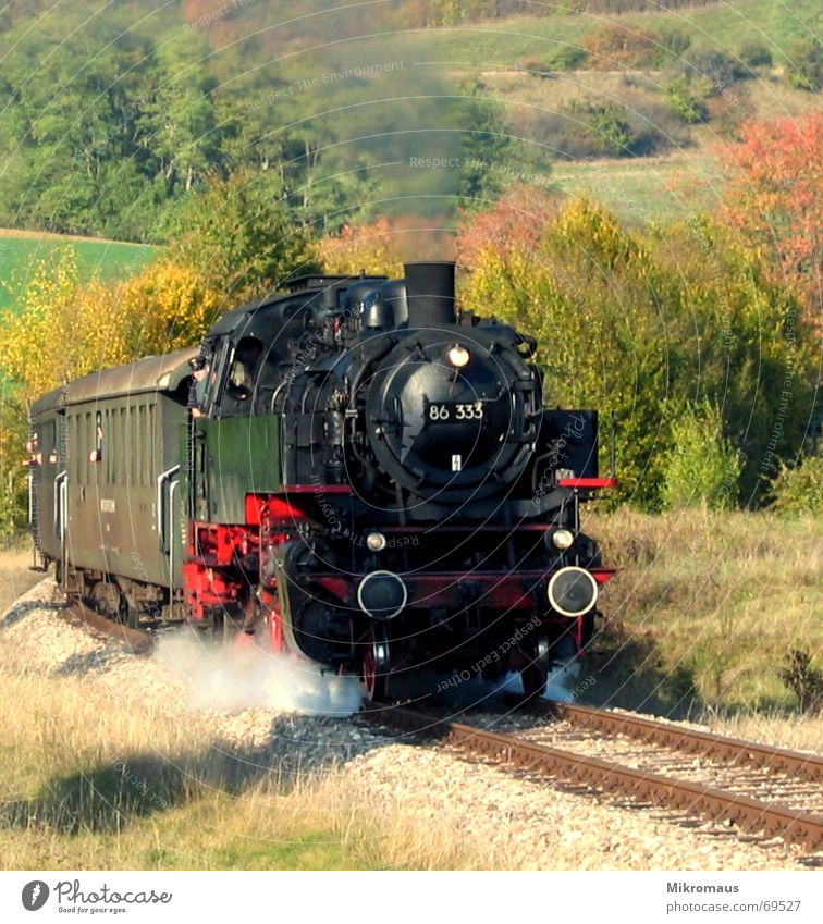 Nature Vacation & Travel Autumn Line Transport Railroad Driving Logistics Railroad tracks Idyll Smoke Valley Steam Engines Means of transport Rail transport