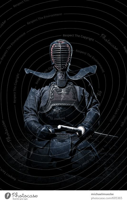 Kendo Warrior Martial arts Human being Culture Dark Blue Black Loneliness Mysterious alone Bielefeld Germany dramatic Earnest hard japanese Jens lonely portrait