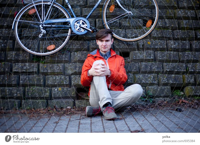 Young man with bicycle posing outdoor on the ground Human being Youth (Young adults) City 18 - 30 years Adults Environment Wall (building) Autumn Movement