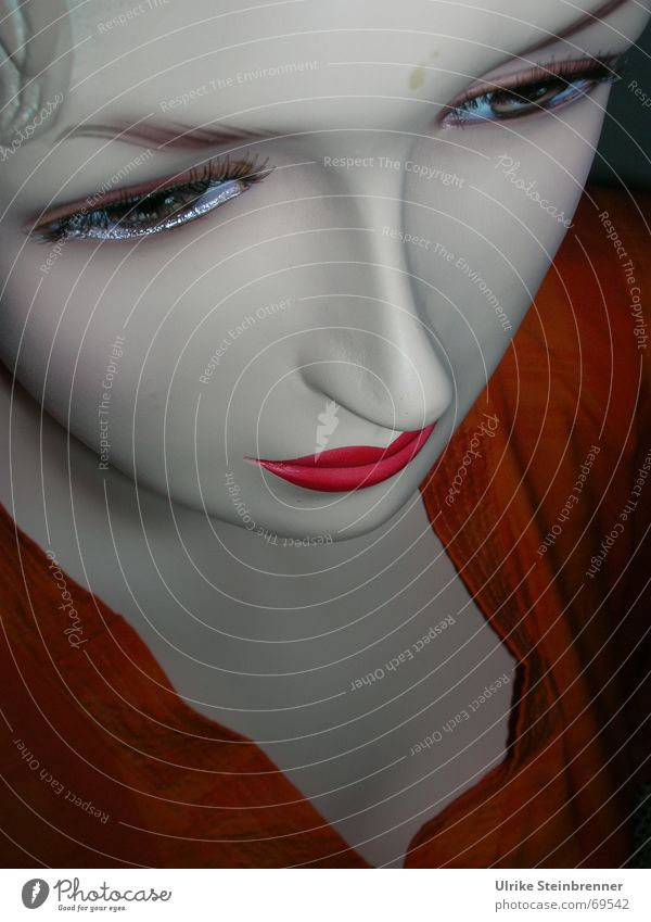 Face of a mannequin from above Colour photo Detail Downward Style already Cosmetics Lipstick Mascara Far-off places Feminine Woman Adults 1 Human being Mask