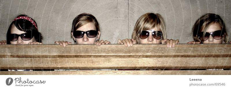 Girl Dark Head Bench Eyeglasses Child To hold on Row Sunglasses